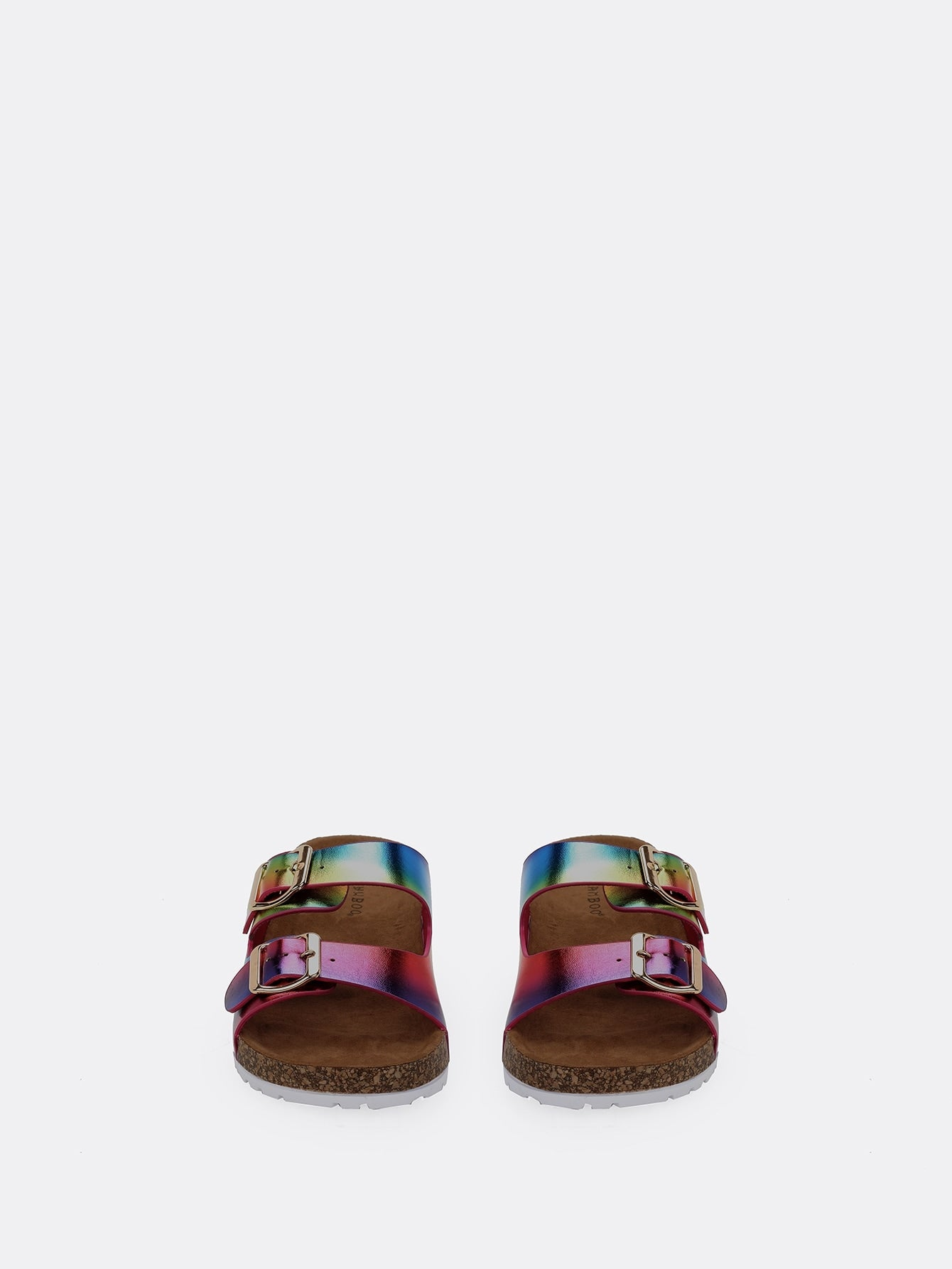 Rainbow Double Buckle Strap Footbed Slide Sandals