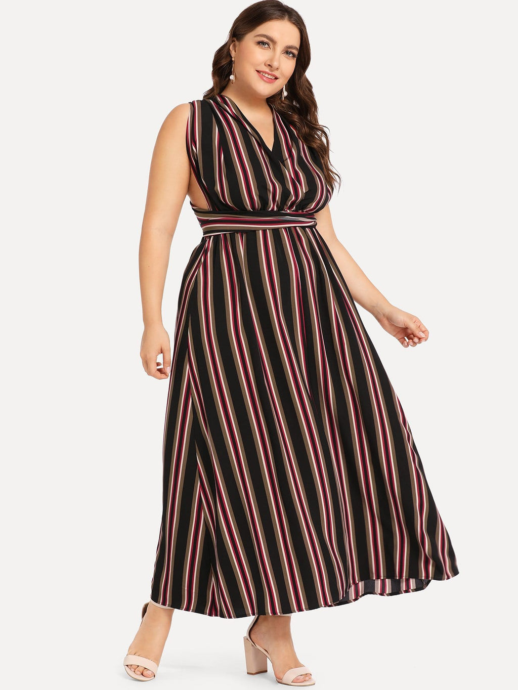 Plus Vertical Stripe Self Belted Dress