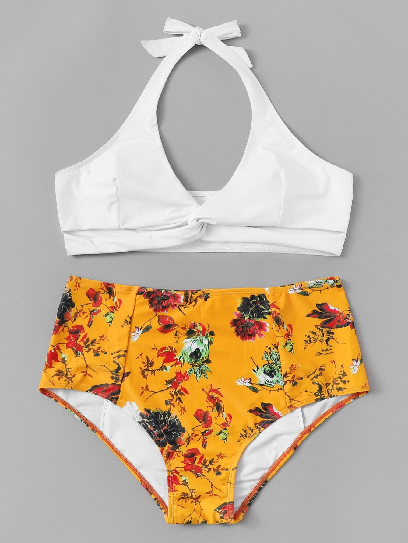 Plus Twist Halter Top With Random Floral Bikini