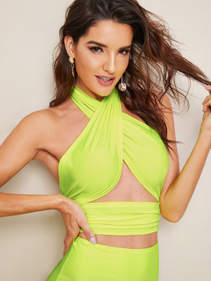 Neon Lime Wrap Top With High Waist Bikini