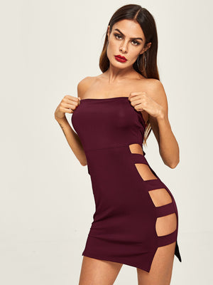 Side Ladder Cutout Bandeau Mini Dress
