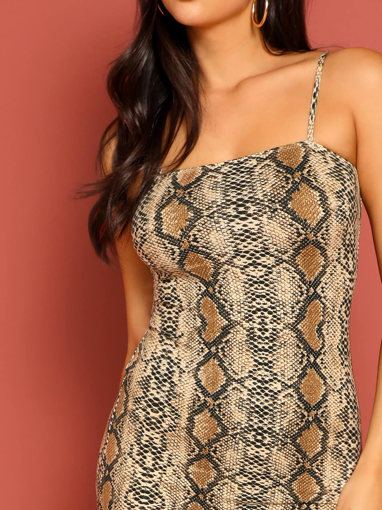 Snakeskin Print Fitted Cami Dress