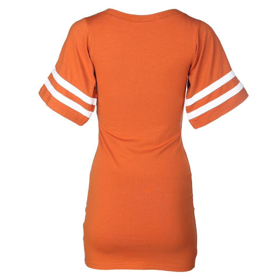Women's Short Sleeve Round Neck  Premium Varsity Football Jersey Tailgate V-Neck Dress