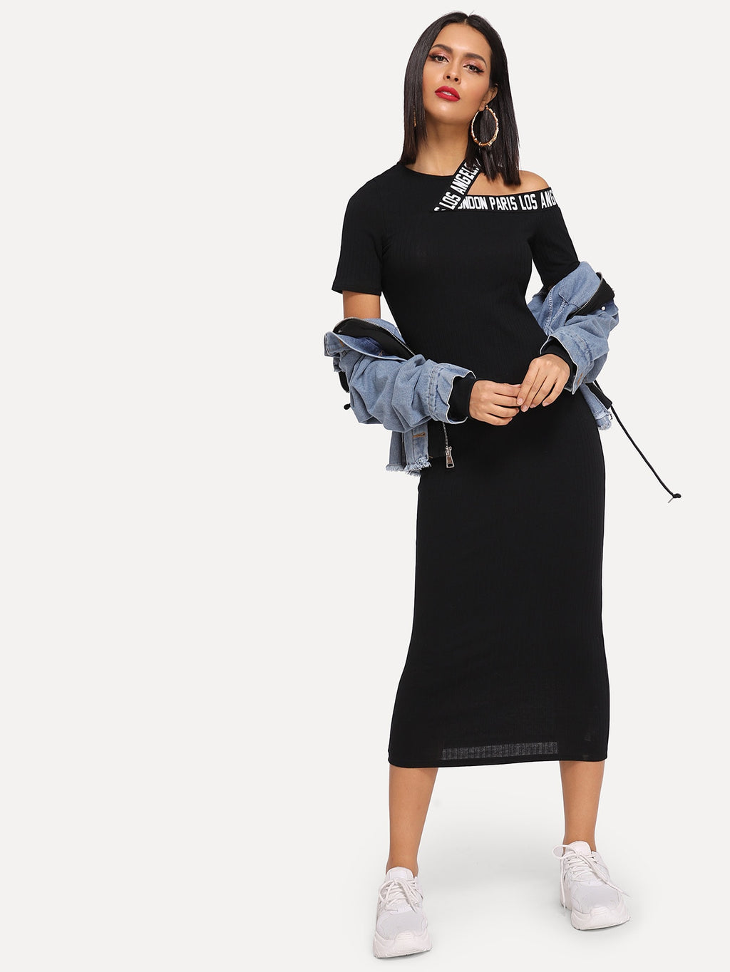 Cut-Out Shoulder Slogan Tape Rib Midi Dress