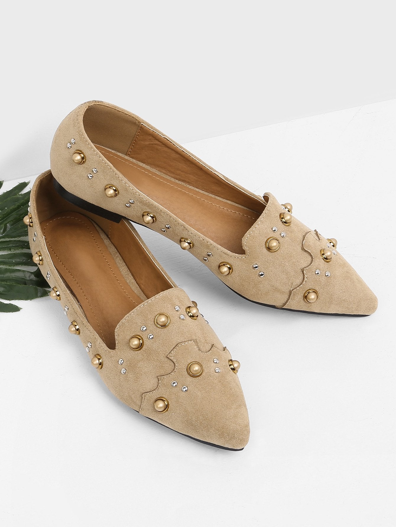 Faux Pearl Decorated Slip On Flats