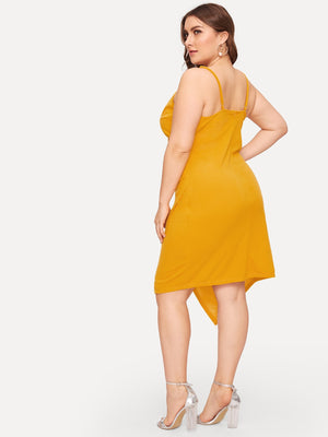Plus Asymmetrical Hem Surplice Wrap Cami Dress