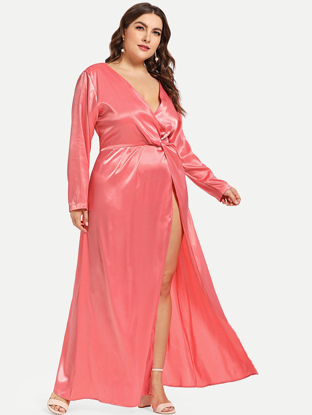 Plus Wrap Front Split Satin Dress