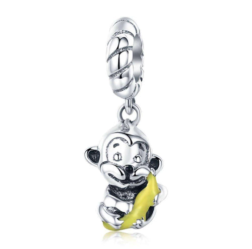 Animal Collection Cute Monkey & Banana Love Charm - Origin Silver