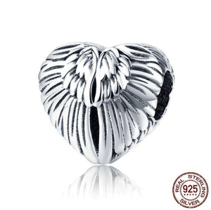 Angel Wings in Heart Shape Charm Beads - OriginSilver