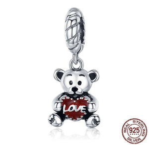 Animal Collection Little Bear with Love Hug Charm - OriginSilver