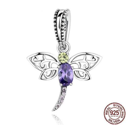 Dragonfly Insects Purple - Origin Silver