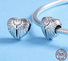 Load image into Gallery viewer, Angel Wings in Heart Shape Charm Beads - OriginSilver
