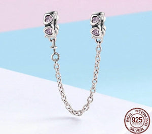 Sweet Inspiration, Pink Heart Safety Chain Stopper Charm - OriginSilver