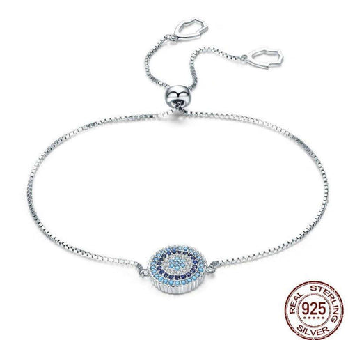 Luxury Round Blue Lucky Eyes - Origin Silver
