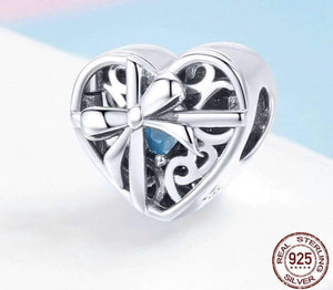 Always In Heart Bowknot Surprise Box Beads - OriginSilver