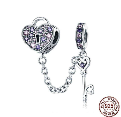 Key of Heart Lock Crystal - Origin Silver