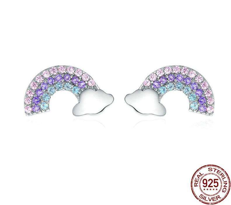 Colorful Zircon Rainbow Exquisite Stud Earrings - OriginSilver