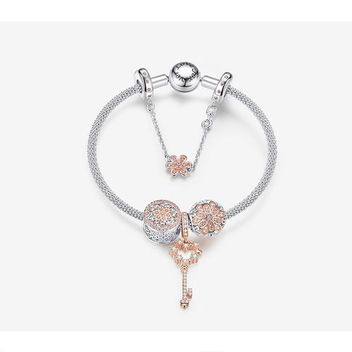 Rose Gold Color Original Charm Bracelets - Origin Silver
