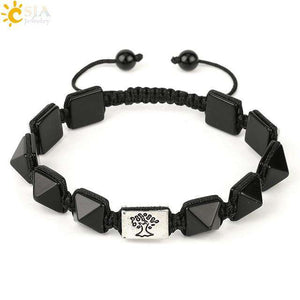Square Pyramid Natural Stone Charm Bracelets Rope Braided String Tree of Life - Origin Silver