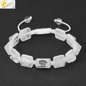 Square Pyramid Natural Stone Charm Bracelets Rope Braided String Tree of Life - OriginSilver