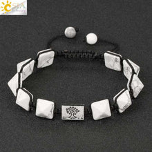 Load image into Gallery viewer, Square Pyramid Natural Stone Charm Bracelets Rope Braided String Tree of Life - Origin Silver