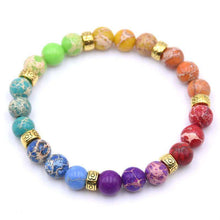 Load image into Gallery viewer, 8 mm Colorful Aura Buddha Prayer Natural Stone - Origin Silver