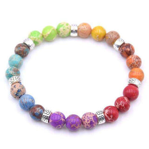 8 mm Colorful Aura Buddha Prayer Natural Stone - Origin Silver