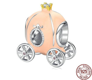 Beige Enamel Pumpkin Carriage Charm