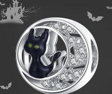 Load image into Gallery viewer, Halloween Black Cat CZ silver