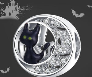 Halloween Black Cat CZ silver