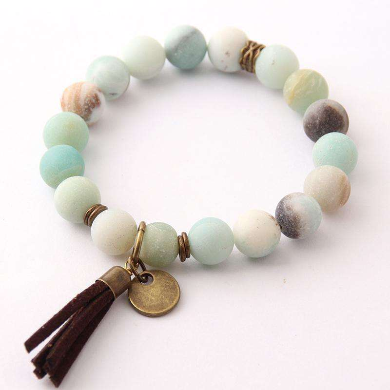 Natural Stone Energy Bracelets By 10mm  Frosted Amazonite - Origin Silver