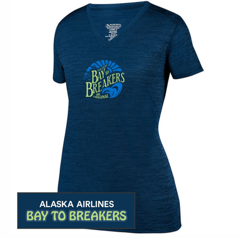 Bay to Breakers 'Round' Women's SS 'Shadow' Tonal Heather Tech V-Neck Tee - Navy - by Augusta