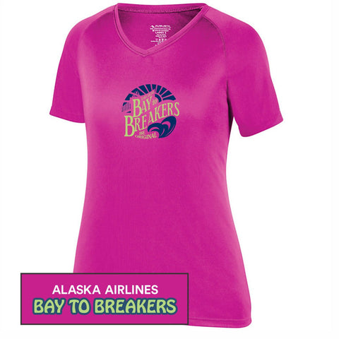 Bay to Breakers 'Round' Women's SS Tech V-Neck Tee - Power Pink - by Augusta