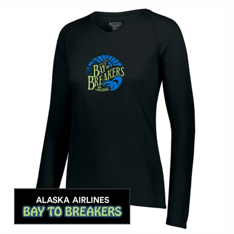 Bay to Breakers 'Round' Women's LS Tech V-Neck Tee - Black - by Augusta