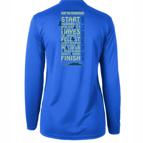 '2018 Directions' Women's LS Tech V-Neck Tee - Royal - by Green Layer