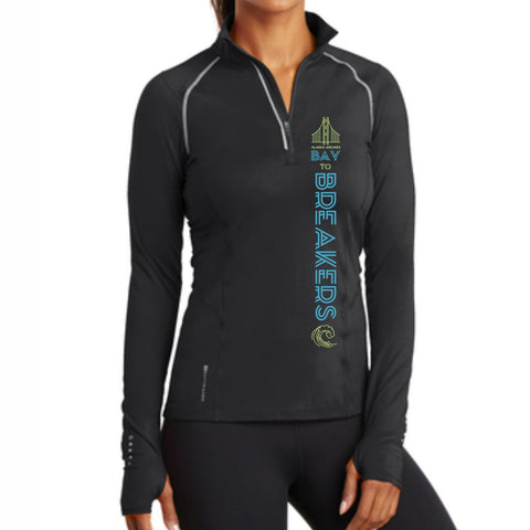 Bay to Breakers 'Left Chest Print' Women's Tech Pullover 1/4 Zip - Blacktop - by OGIO