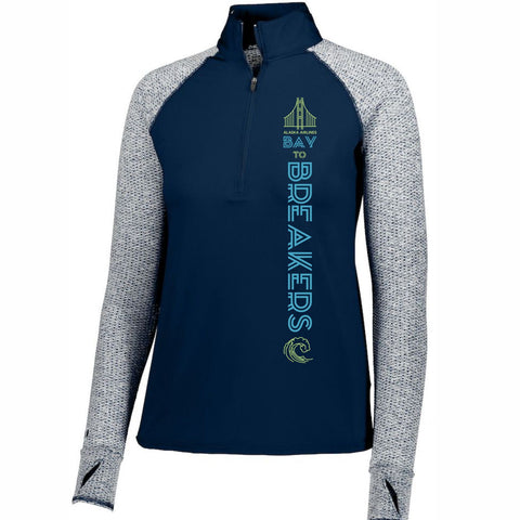 Bay to Breakers 'Left Chest Print' Women's 'Axis' Tech Pullover 1/2 Zip - Navy / Navy Heather - by Holloway