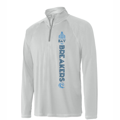Bay to Breakers 'Left Chest Print' Men's Lightweight Tech Pullover 1/4 Zip - Sport Silver - by All Sport