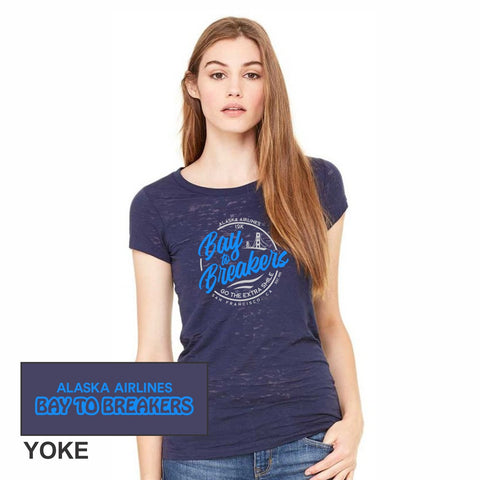 Women's Burnout SS Tee - Navy 'Script'