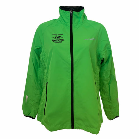 Women's Runner's Jacket - Zip Green 'Right Chest Embroidered'