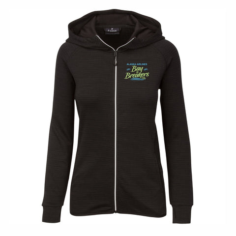 Women's Textured Hoody - Zip Black 'Left Chest Embroidered'