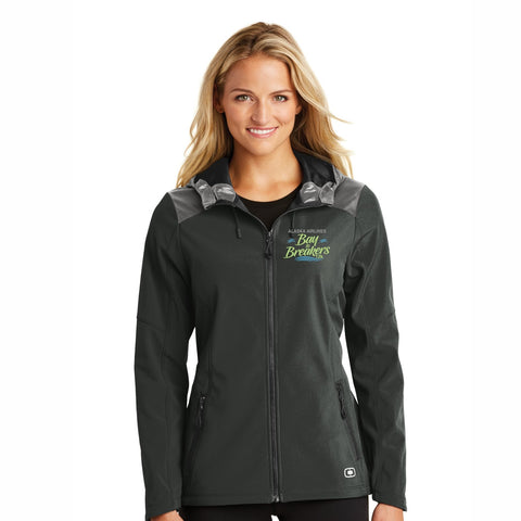 Women's Soft-Shell Hooded Jacket - Full Zip Blacktop 'Left Chest Embroidered'