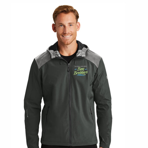 Men's Soft-Shell Hooded Jacket - Full Zip Blacktop 'Left Chest Embroidered'