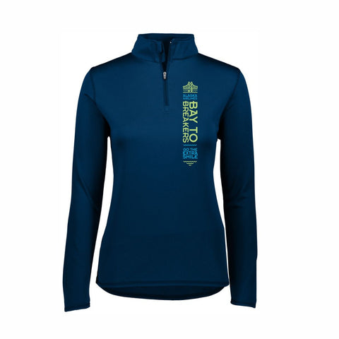 'Left Chest Print' Women's Tech 1/4 Zip - Navy - by Augusta