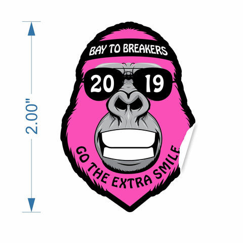 "Sticker - 2"" Tall Die-Cut Pink 'Gorilla 2019 - Go the Extra Smile''"