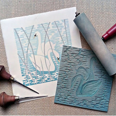 The Wild Swans at Coole linocut