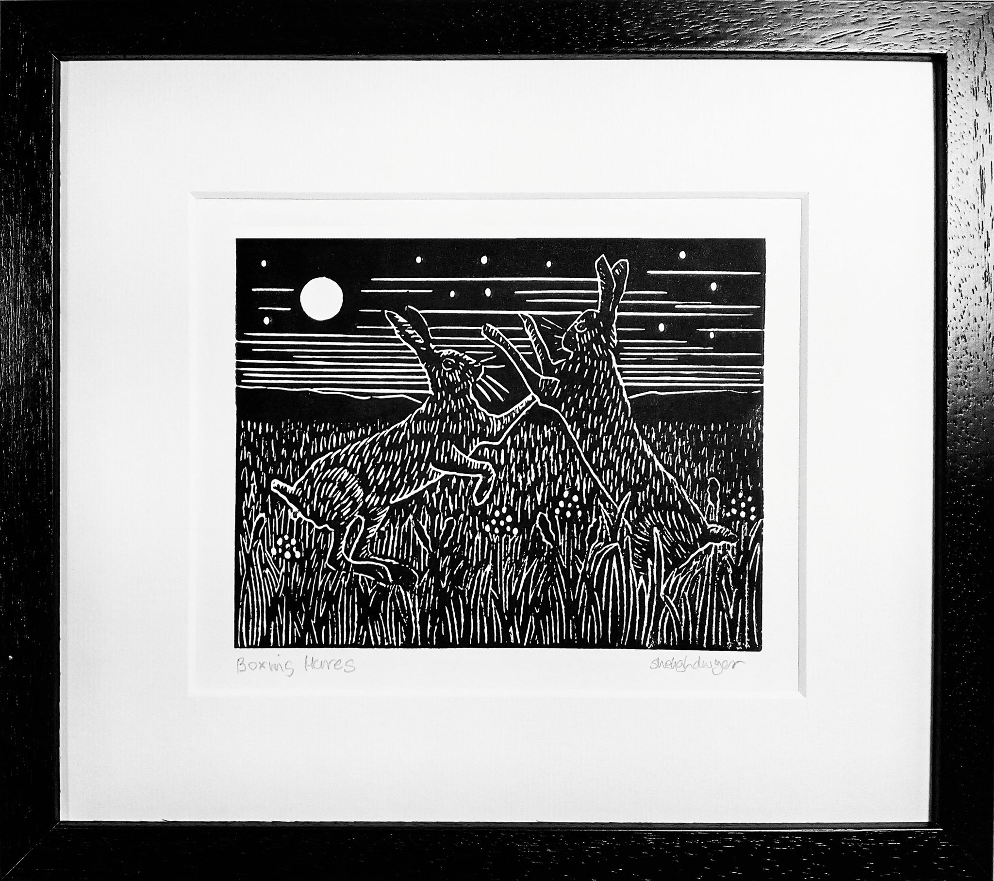 Framed Hand Printed Black and White Lino Print of Boxing Hares