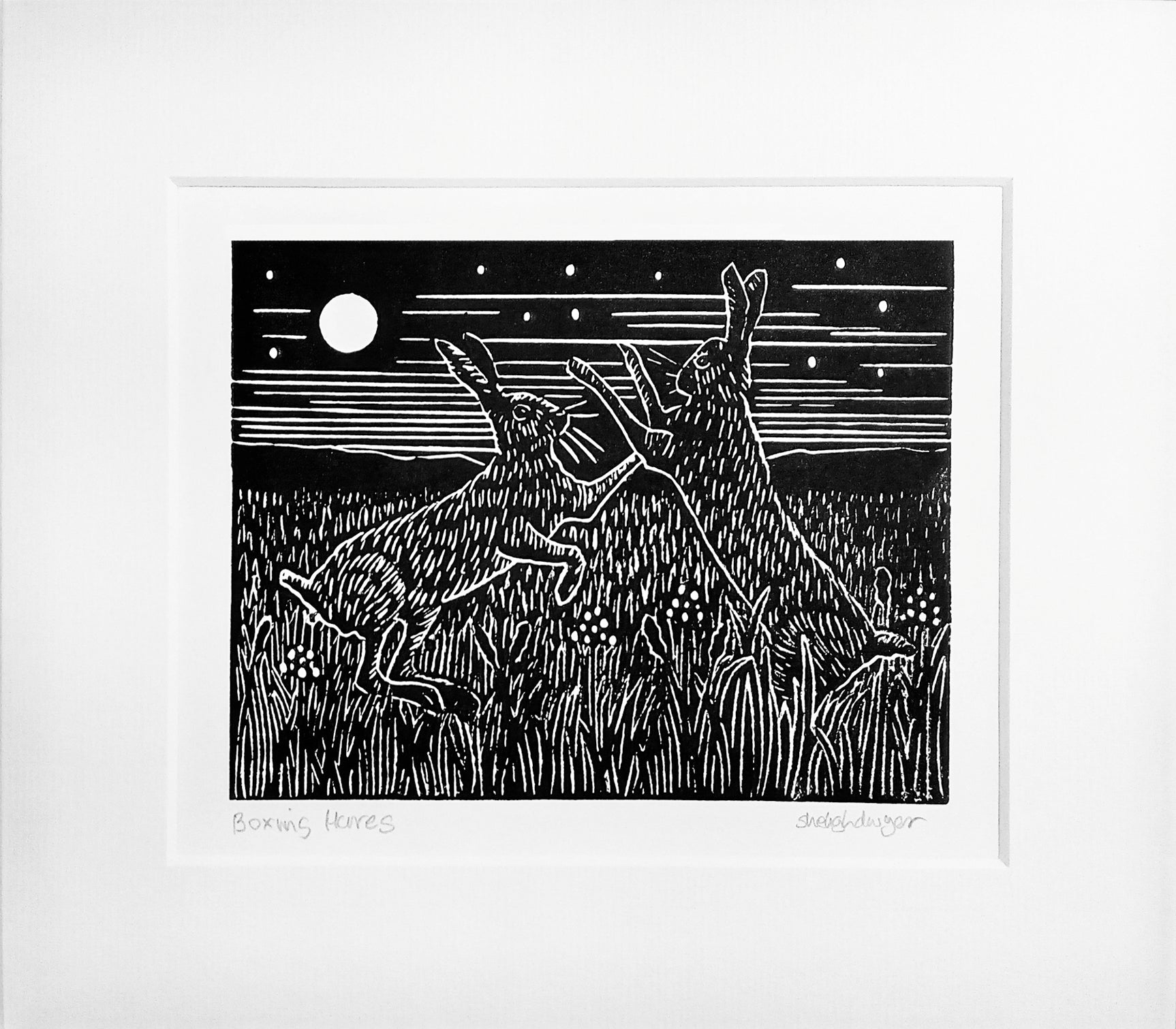 Mounted Hand Printed Black and White Lino Print of Boxing Hares