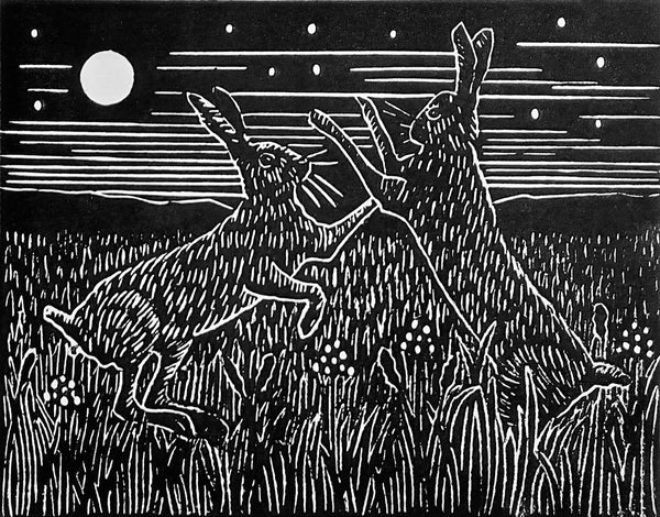 Hand Printed Black and White Lino Print of Boxing Hares