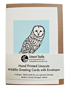 An assortment of four woodland animals. The designs are hand printed onto sustainably sourced 300gsm card with a recycled envelope and are blank inside for your personal message.  Size: A6